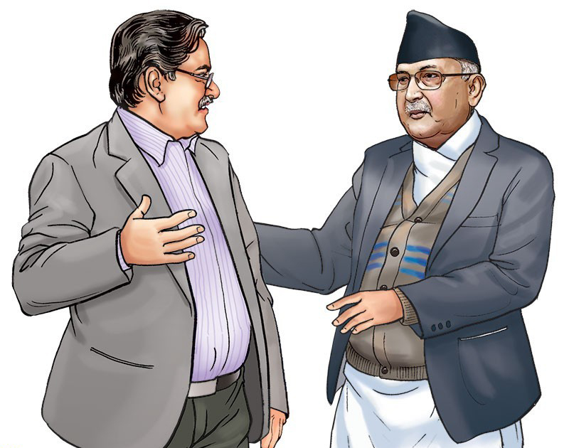 Oli, Dahal start discussion on task force report