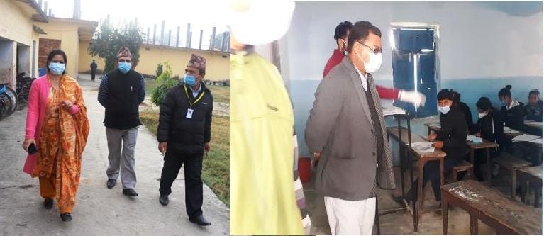 धनगढीका नगरप्रमुख र उप–प्रमुखद्धारा परीक्षाकेन्द्रको अनुगमन